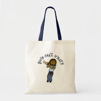 Dark Girl Playing Trumpet Tote Bag