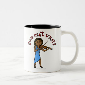 Dark Girl Playing Violin Two-Tone Coffee Mug