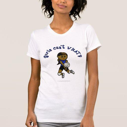 Dark Girls Volleyball in Blue Uniform Tshirts