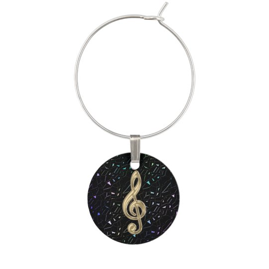 Dark Glitter Gold Music Clef Wine Charm