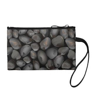 Dark glossy pebbles coin purse