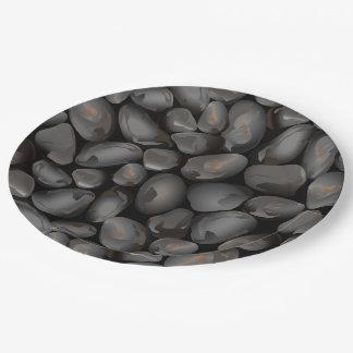 Dark glossy pebbles paper plate