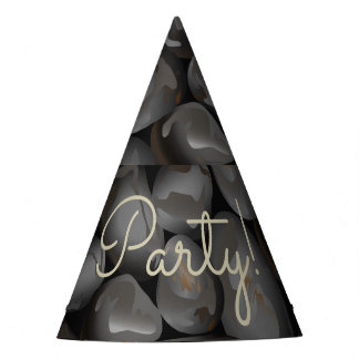 Dark glossy pebbles party hat
