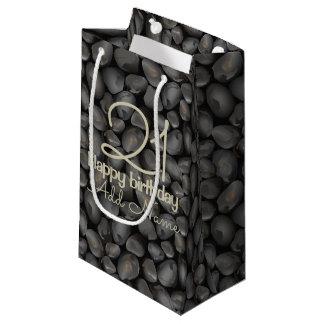 Dark glossy pebbles small gift bag