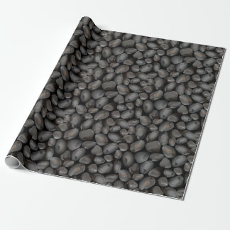 Dark glossy pebbles wrapping paper
