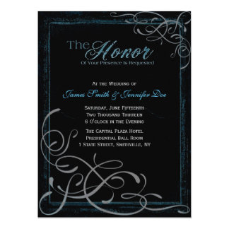 Dark Glowing Blue Elegance Invitation