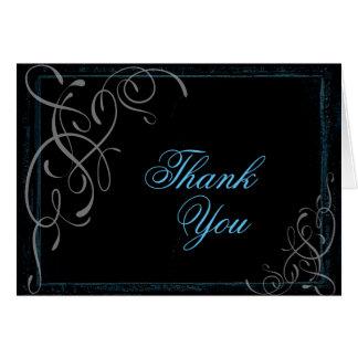 Dark Glowing Blue Elegance - Thank You Card