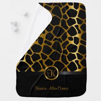Dark Gold and Black Giraffe Design Pattern Baby Blanket