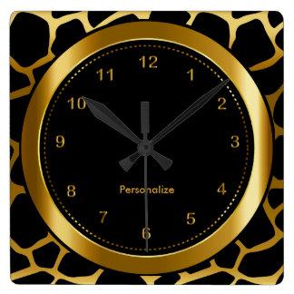 Dark Gold and Black Giraffe Pattern Print Square Wall Clock