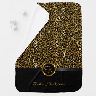 Dark Gold and Black Leopard Animal Pattern Swaddle Blanket