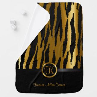 Dark Gold and Black Zebra Stripes Pattern Swaddle Blankets