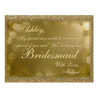 Dark Golden Glitter - Will You Be My Bridesmaid? Postcard