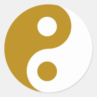Dark Goldenrod Yin Yang Symbol Classic Round Sticker
