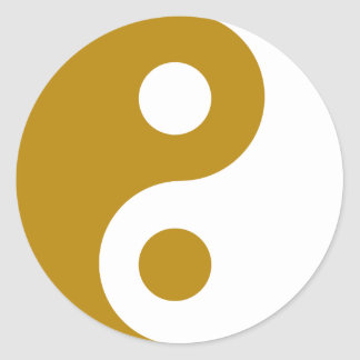 Dark Goldenrod Yin Yang Symbol Round Sticker