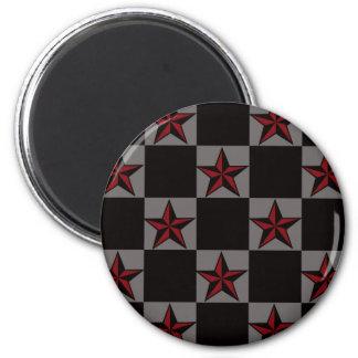 Dark Goth Star Pattern 2 Inch Round Magnet