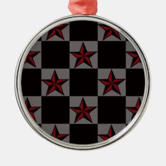 Dark Goth Star Pattern Silver-Colored Round Ornament