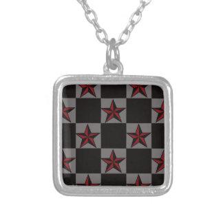 Dark Goth Star Pattern Silver Plated Necklace