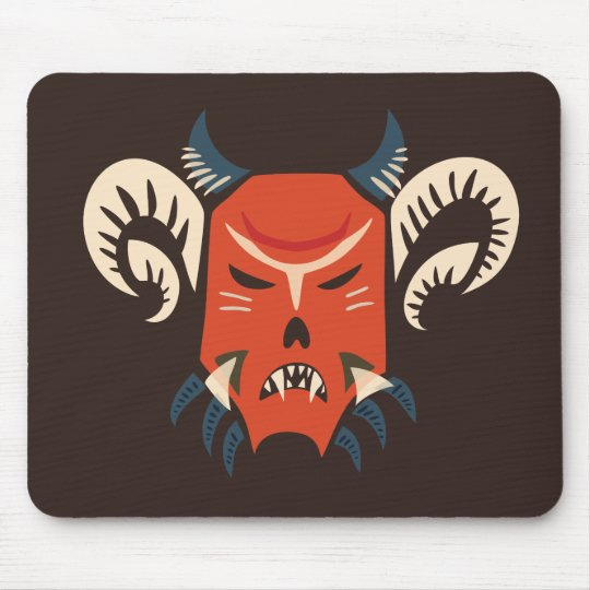 Dark Gothic Evil Horned Demon Mask Mouse Pad