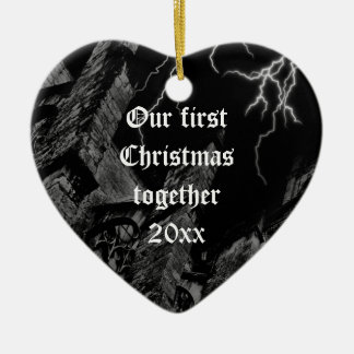 Dark Gothic first Christmas heart ornament