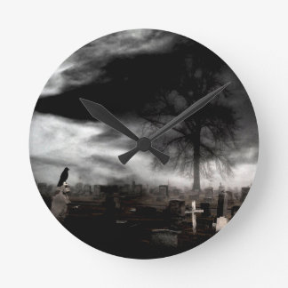 Dark Gothic Fog With Crow Round Clock