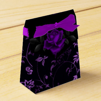 Dark Gothic Purple Rose Favor Box