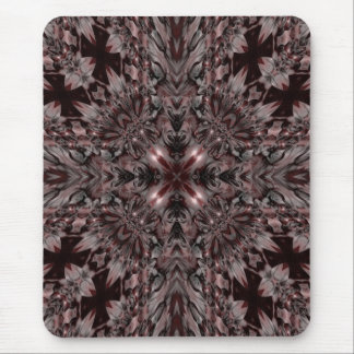 Dark gothic red and gray kaleidoscope mouse pad