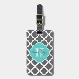 Dark Gray and Aqua Moroccan Quatrefoil Print Luggage Tag