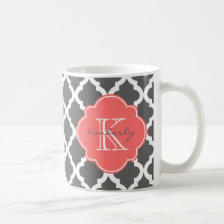 Dark Gray and Coral Moroccan Quatrefoil Print Coffee Mug