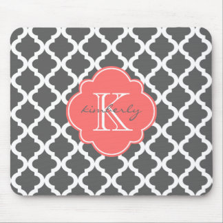 Dark Gray and Coral Moroccan Quatrefoil Print Mouse Pad