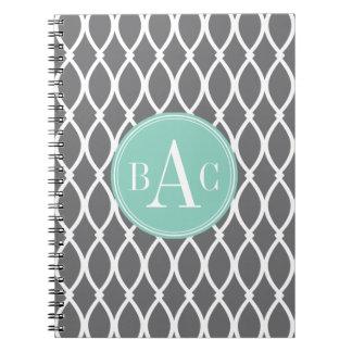 Dark Gray and Mint Monogrammed Barcelona Print Spiral Notebook