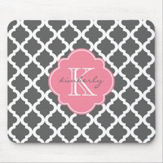 Dark Gray and Pink Moroccan Quatrefoil Print Mouse Pad