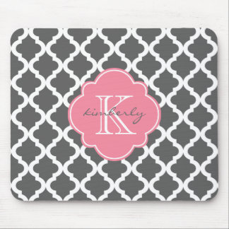Dark Gray and Pink Moroccan Quatrefoil Print Mouse Pads