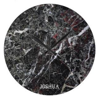 Dark Gray And White Marble Stone Monogram Large Clock