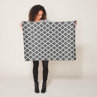 Dark Gray and White Quatrefoil Pattern Fleece Blanket
