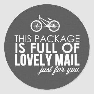 Dark Gray Bicycle Lovely Mail Packaging Sticker