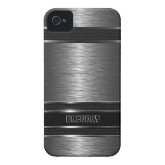 Dark Gray & Black Metallic Brushed Aluminum Look iPhone 4 Case