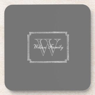 Dark Gray Chalk Monogram S/6 Coasters