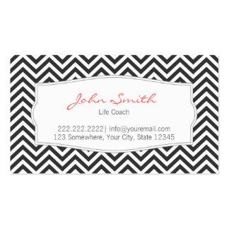 Dark Gray Chevron Stripes Life Coach Business Card
