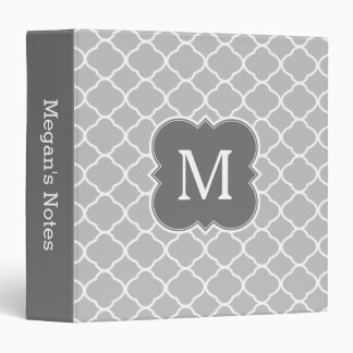 Dark Gray Custom Monogram Quatrefoil Binder