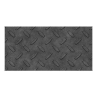 Dark Gray Diamond Plate Texture Picture Card