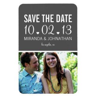 Dark Gray Hearts Design Photo Save The Date Magnet