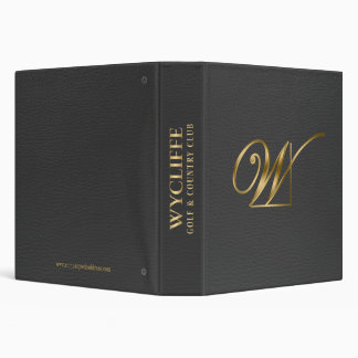 Dark Gray Leather Gold Logo 3 Ring Binder