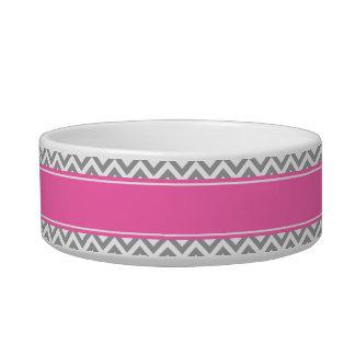 Dark Gray Lg Chevron Hot Pink #2 Name Monogram Bowl