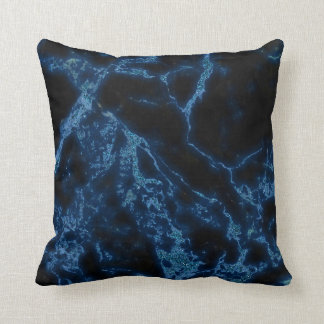 Dark Gray Marble Stone And Blue Glitter Throw Pillow