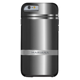 Dark Gray Metallic And Stainless Steel Look Tough iPhone 6 Case