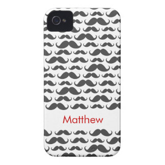 Dark gray mustache pattern personalized name iPhone 4 Case-Mate cases
