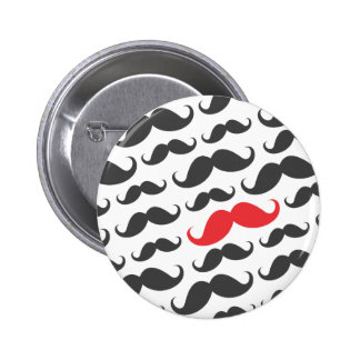 Dark gray mustache pattern with one red moustache 2 inch round button