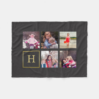 Dark Gray Photo Collage Monogram Fleece Blanket