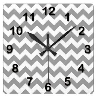 Dark Gray White Chevron Zig-Zag Pattern Wall Clock