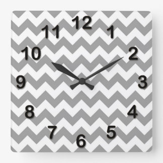 Dark Gray White Chevron Zig-Zag Pattern Square Wall Clock